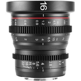 Lente de cine gran angular Meike 16 mm T2.2 de enfoque manual (montura MFT)
