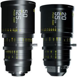 Paquete de lentes con zoom DZOFilm Pictor 20-55 mm y 50-125 mm T2.8 Super35 (montura PL y montura EF, negro)