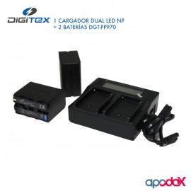 1 CARGADOR DUAL LED NP + 2 BATERÍAS DGT-F970